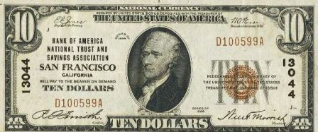 rare $10 1929 bank note