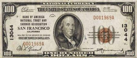 rare $100 1929 bank note