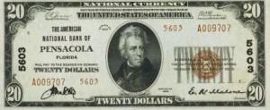 rare $20 1929 bank note