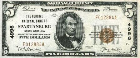 rare $5 1929 bank note