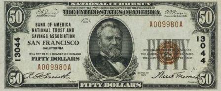 rare $50 1929 bank note