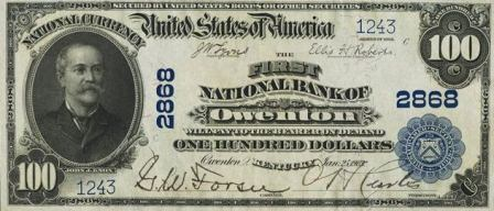 rare paper money $100 blue seal