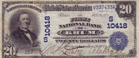 rare paper money $20 blue seal
